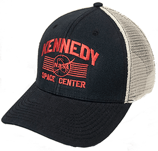 Kennedy Space Center Trucker Hat Black w/white back