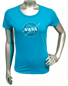 Womens T-Shirt Official NASA Meatball Logo Teal