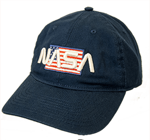 NASA Worm Logo Over American Flag Indigo