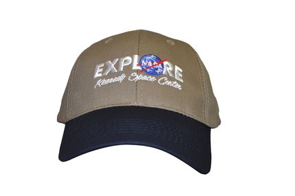 Explore NASA logo hat tan w/navy bill