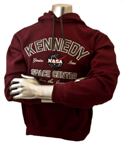 Kennedy Space Center Adult Hoodie Sweatshirt Burgundy