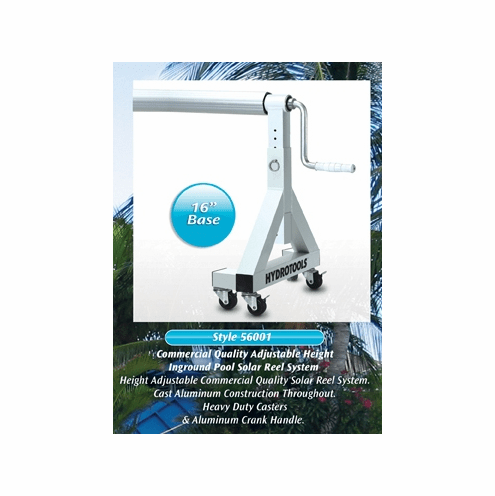 """Adjustable Height In-Ground Solar Reel for Pools up to 20' wide (4"""" alum tube / 16"""" Base)"""