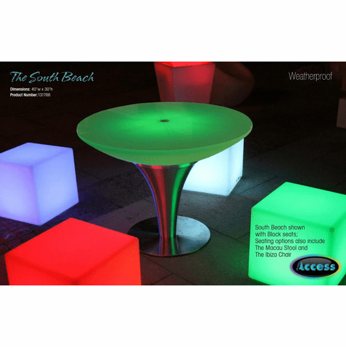 Illuminate Your Life South Beach Weatherproof Table with LED lights