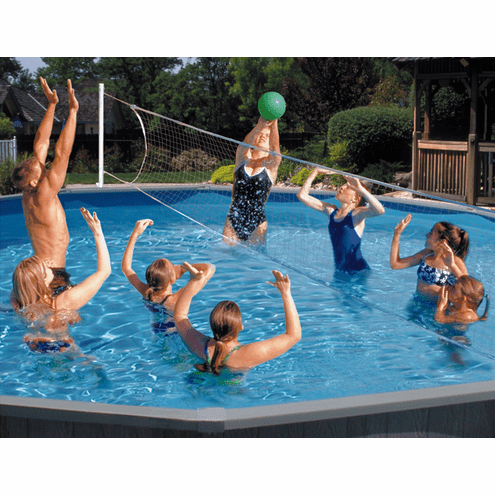 Poolmaster Above-Ground Mounted Poolside Badminton/Volleyball Game Combo