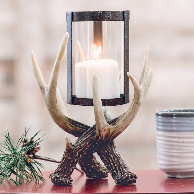 Antler Hurricane Candle Holder