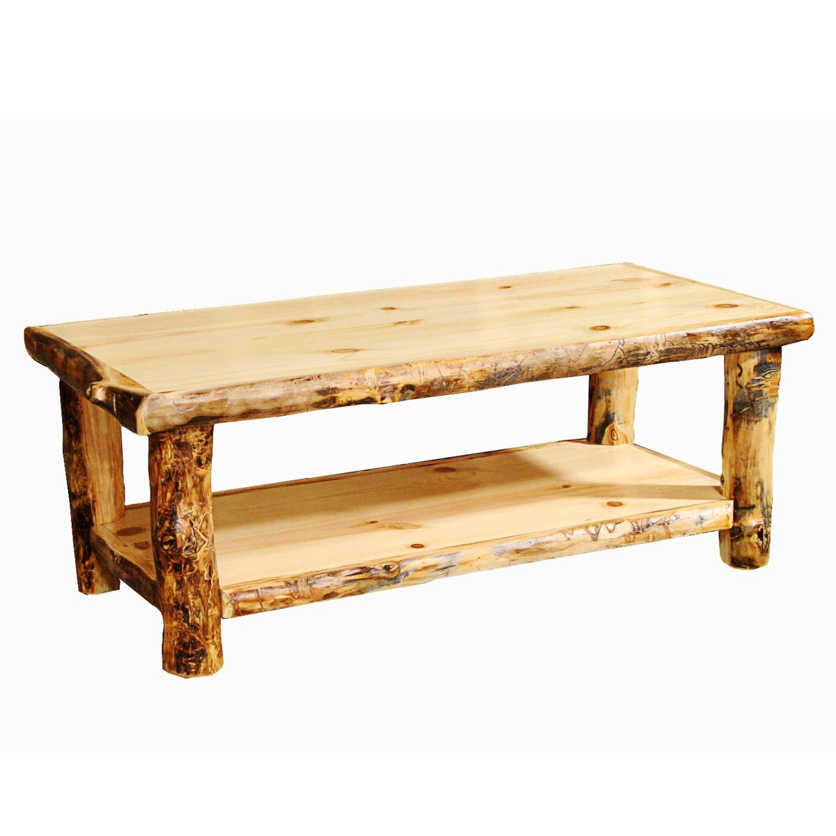 - Rustic Coffee Tables: Aspen Log Trim Coffee Table|Black Forest D¨¦cor