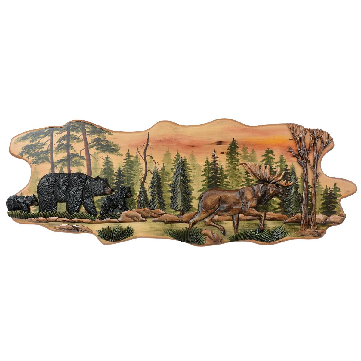 Bear Amp Moose Trail Carved Wood Wall Art