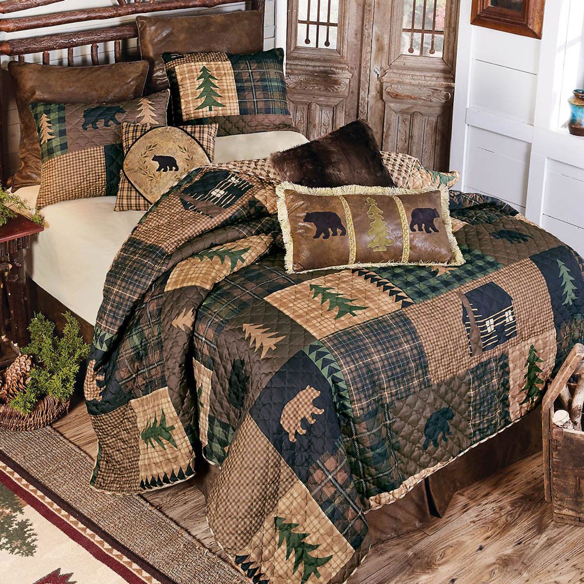 Twin The Lakeside Collection Gold Rush Oversized Plaid Quilt