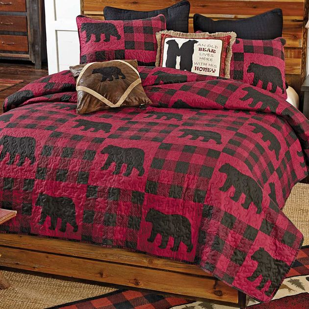 Buffalo Plaid Bear Red Quilt Set Twin
