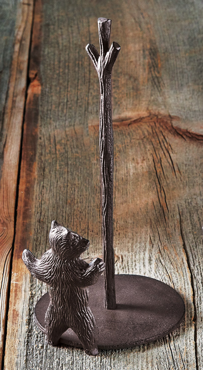Cast Iron Bear Paper Towel Holder