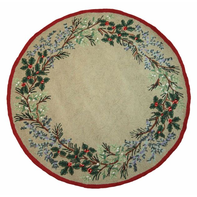 Evergreen Round Hooked Wool Rug