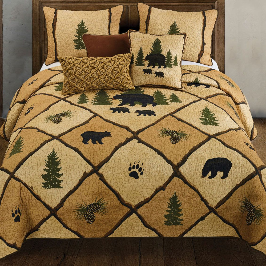 Forest Prints Bear Quilt Full Queen