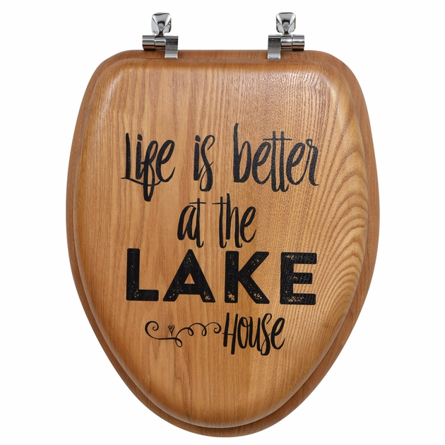 Life Is Better On The Lake Wood Toilet Seat Elongated