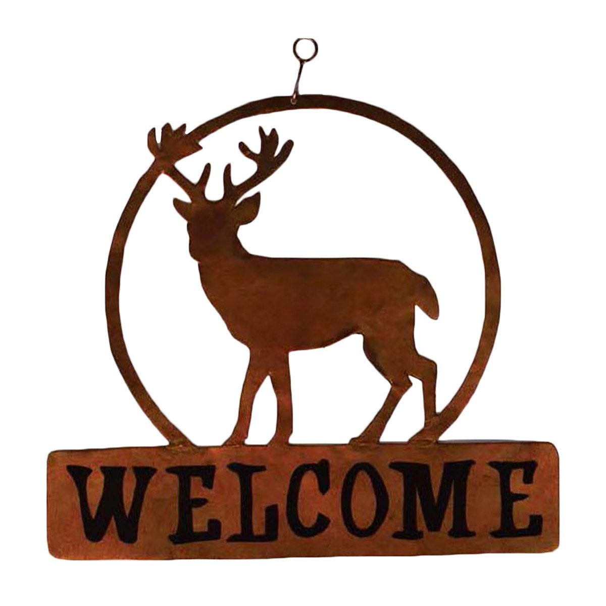 Lone Deer Metal Welcome Sign