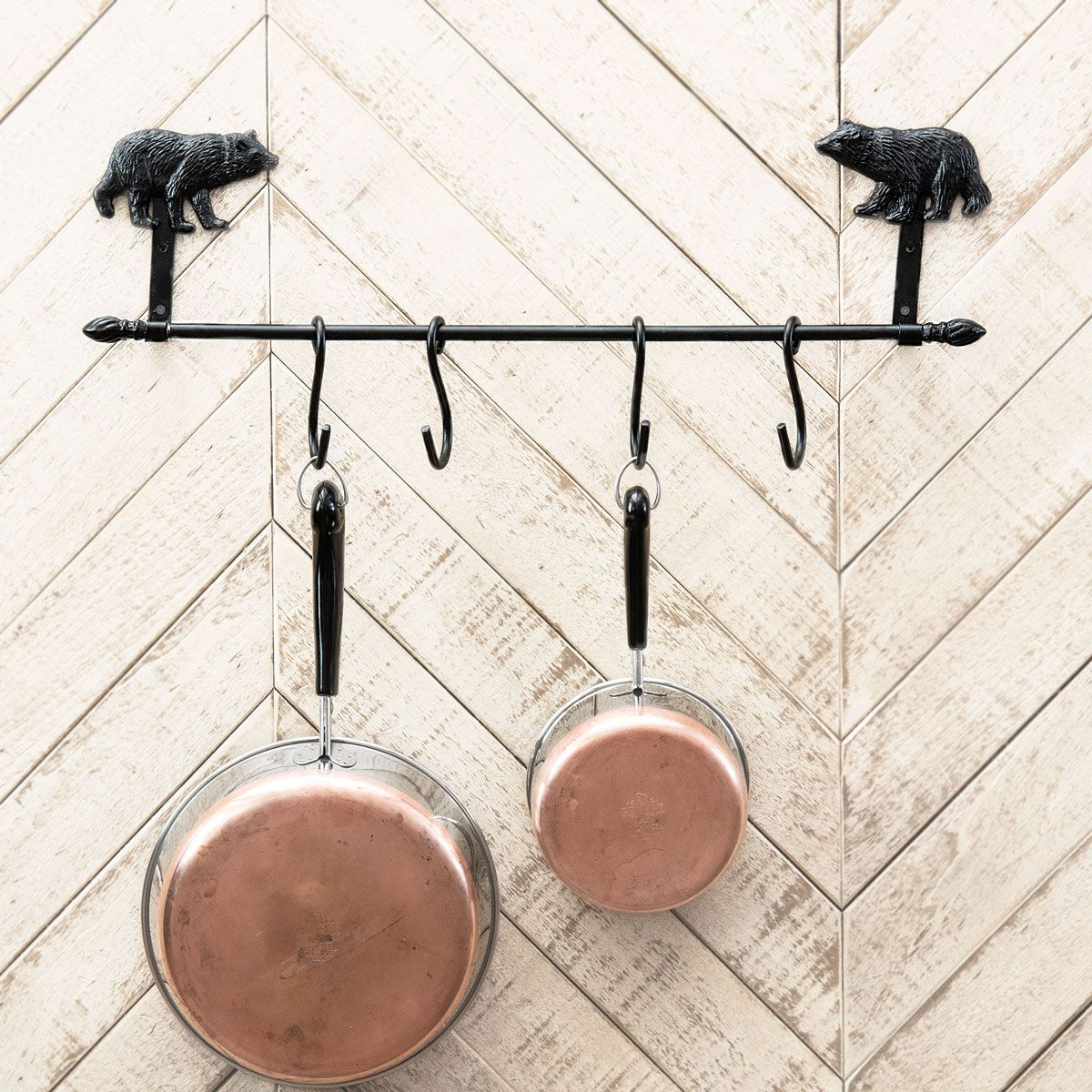 Metal Black Bear Kitchen/Pot Rack