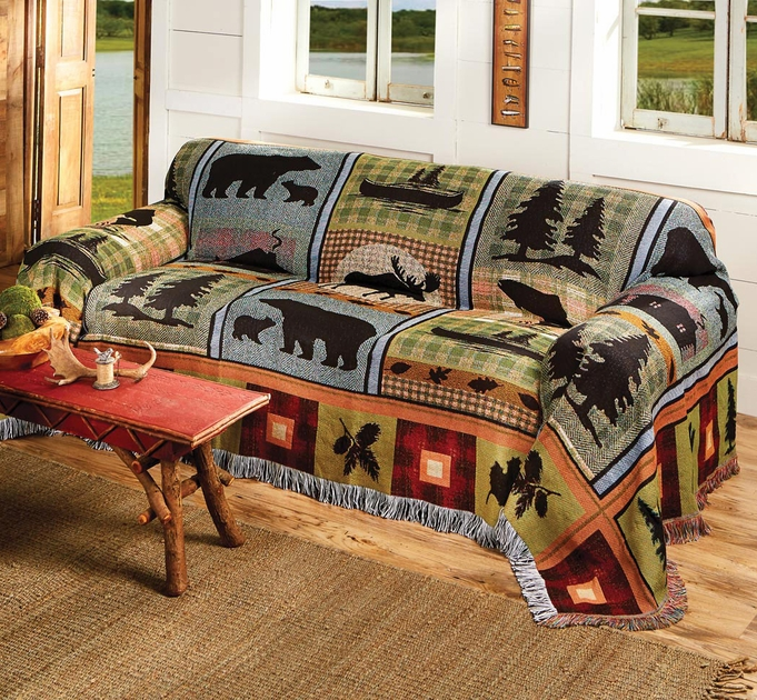 Moose Bear Lake Tapestry Sofa Cover