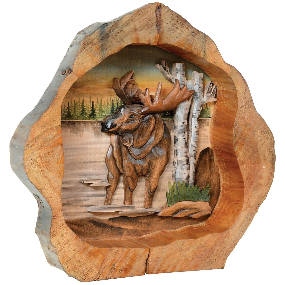 Moose Carved Wood Wall Hanging