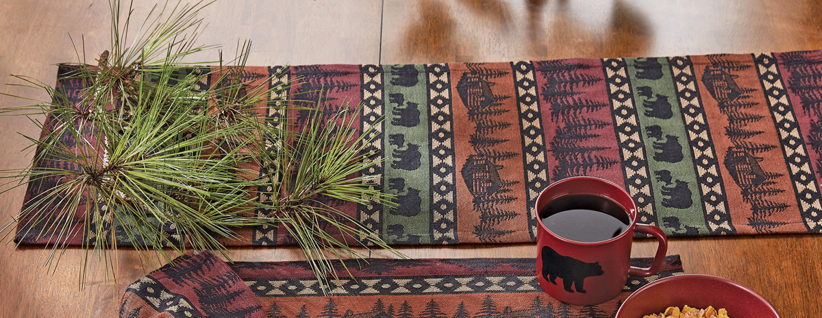 Mountain View Bear Table Runner 36 Inch