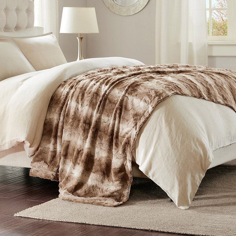 North Bend Faux Fur Oversized Bed Throw Tan