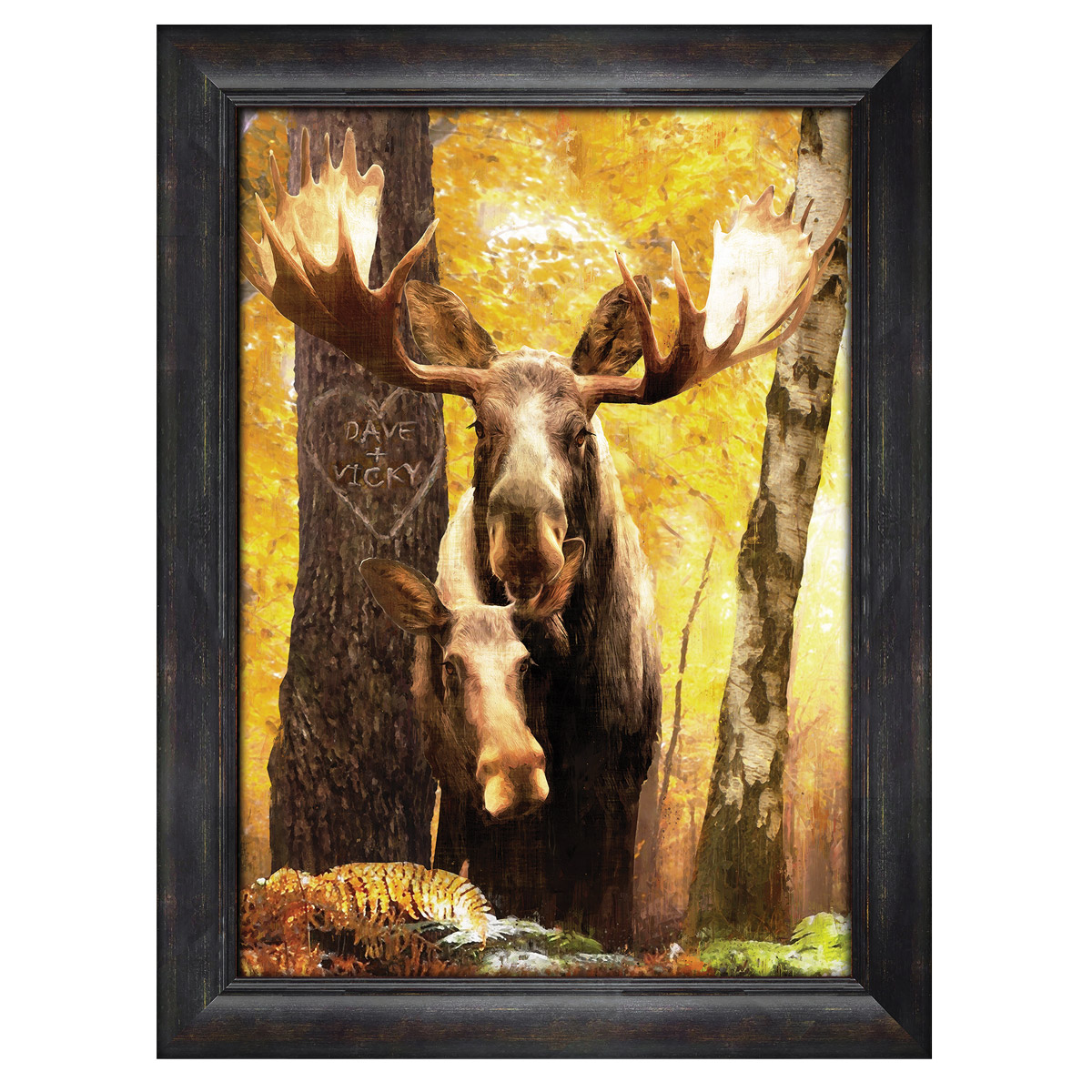Personalized Moose Couple Framed Canvas Art Large