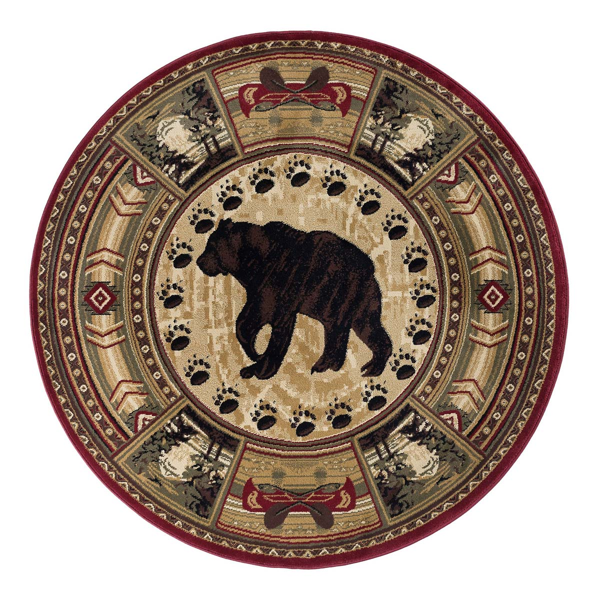 Southwestern Bear Forest Rug 8 Ft Round