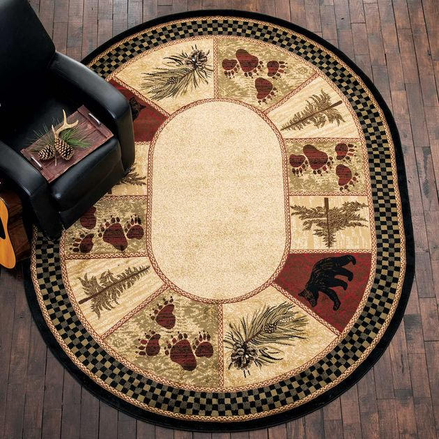 Timber Woods Bear Rug 5 X 7 Oval