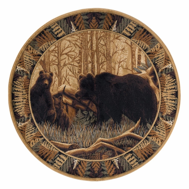Woodland Bears Rug 5 Ft Round