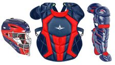 All-Star Youth Navy/Scarlet Axis Pro System 7 Series Catcher's Kit CKCC912S7XNASC