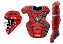 Easton Red/Silver Intermediate M10 Catcher's Set with Rival C Helmet A165340