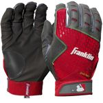 Franklin 2nd Skinz Adult Gray/Red Batting Gloves