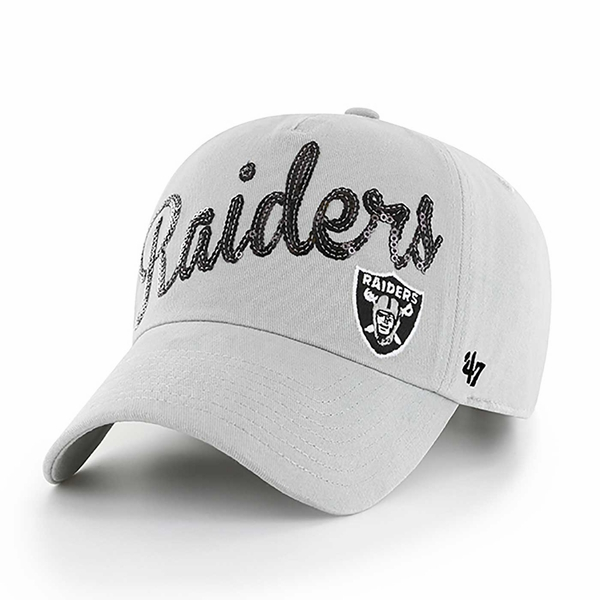 Raiders 47 Brand Grey Sparkle Script Cap