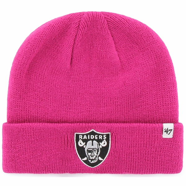 Raiders 47 Brand Juvenile Magenta Raised Cuff Knit Hat