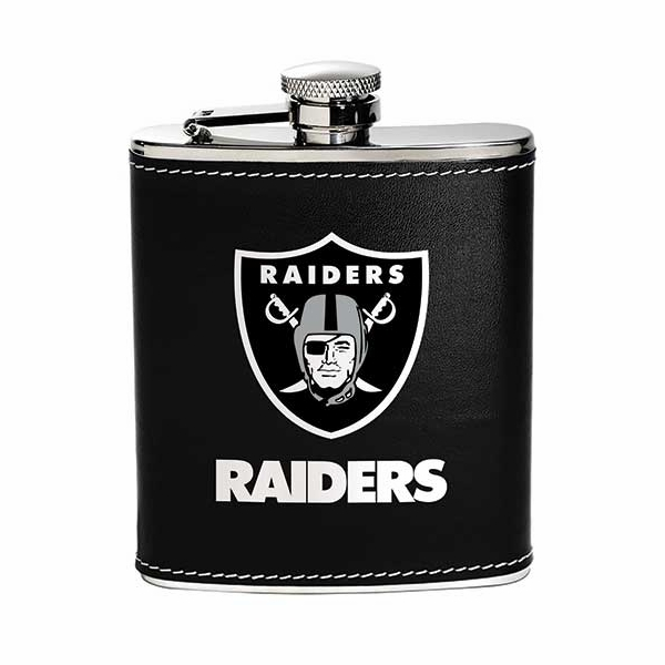 Raiders 6oz Leather Wrapped Flask