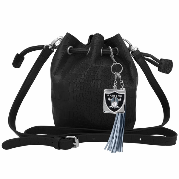 Raiders Charming Mini Black Bucket Bag