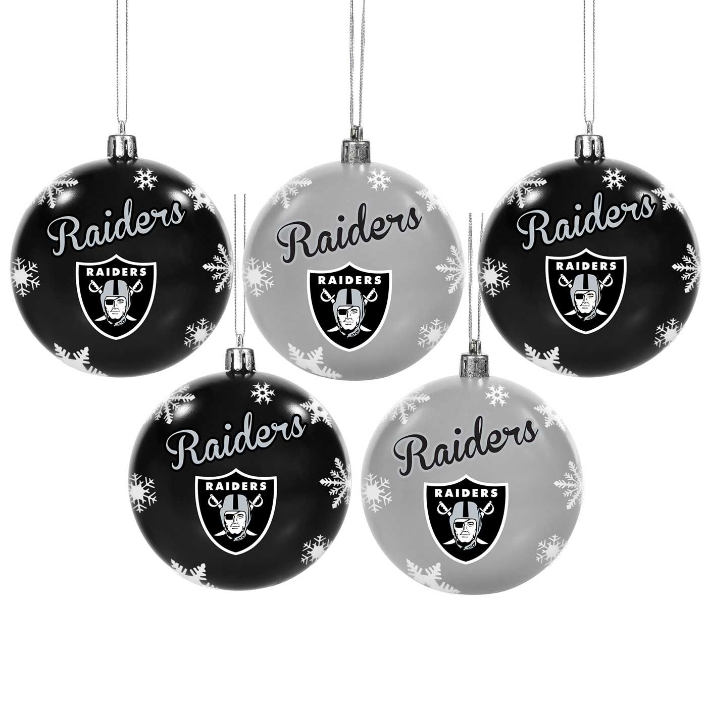 Raiders Five Pack Shatter Proof Ornament Set