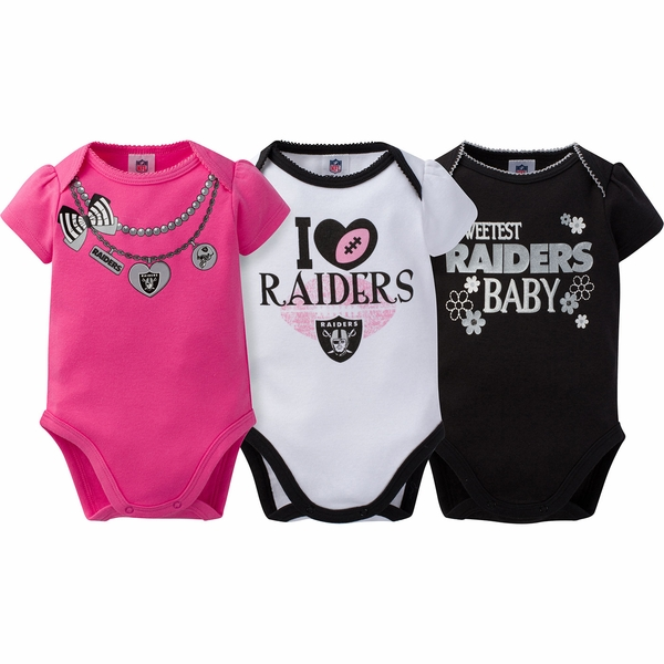 Raiders Infant Pink 3 Pack Short Sleeve Bodysuit Set
