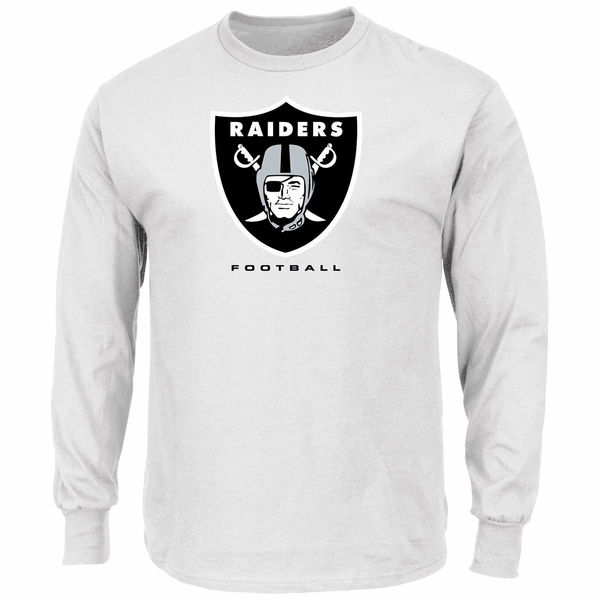 Raiders Majestic Critical Victory Long Sleeve White Tee