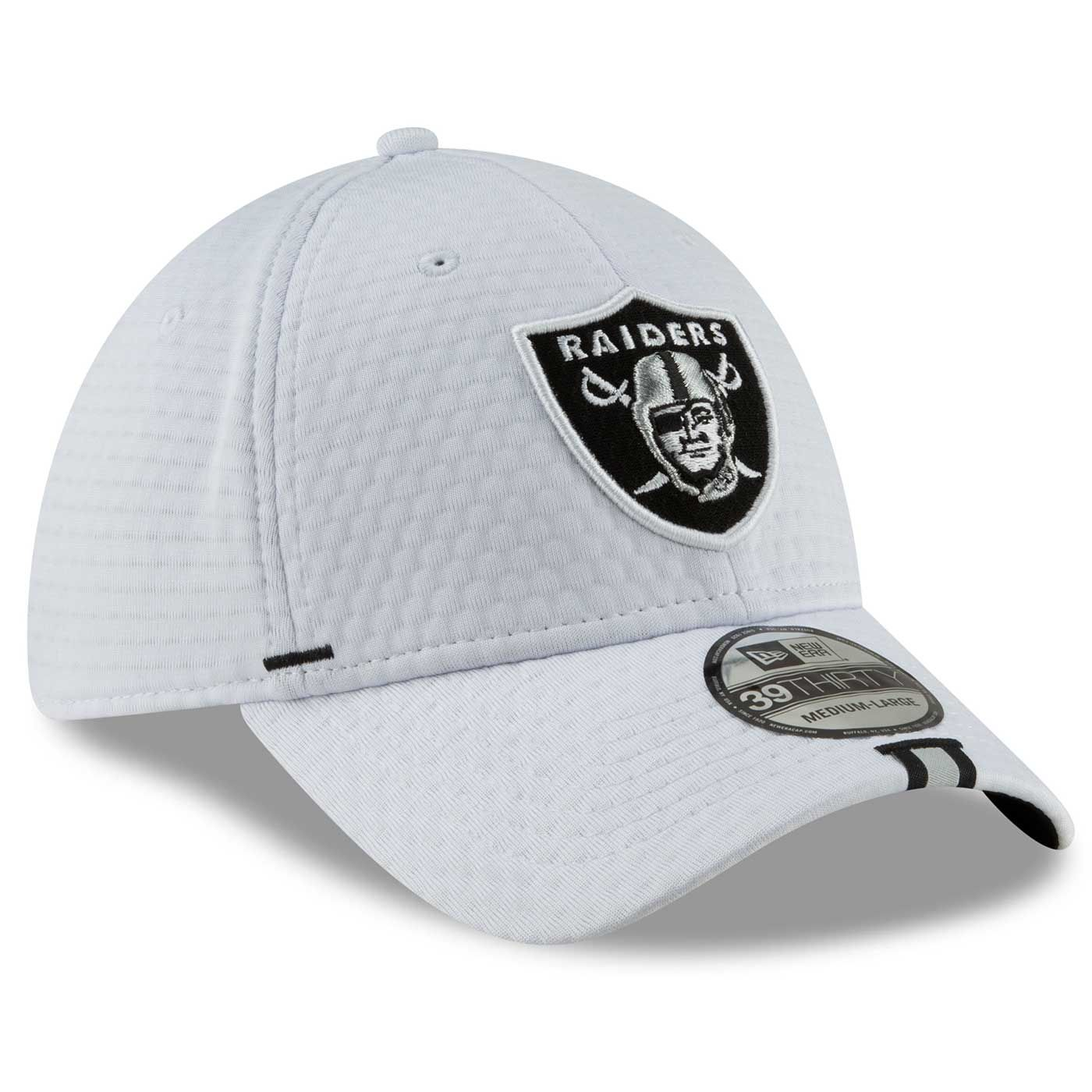 024e90c3 Raiders New Era 39Thirty 2019 On Field Training Camp White Cap