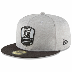 buy popular 4e4f3 ac8f7 Raiders New Era 59Fifty 2018 Official Sideline Road Cap