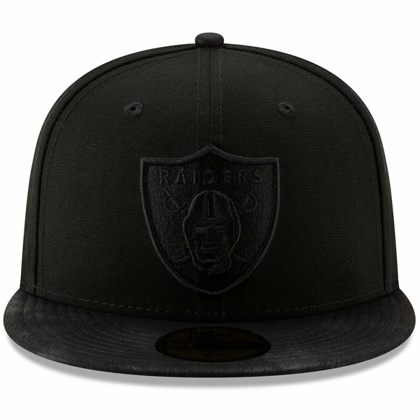Raiders New Era 59Fifty Black Label Sueded Up Cap