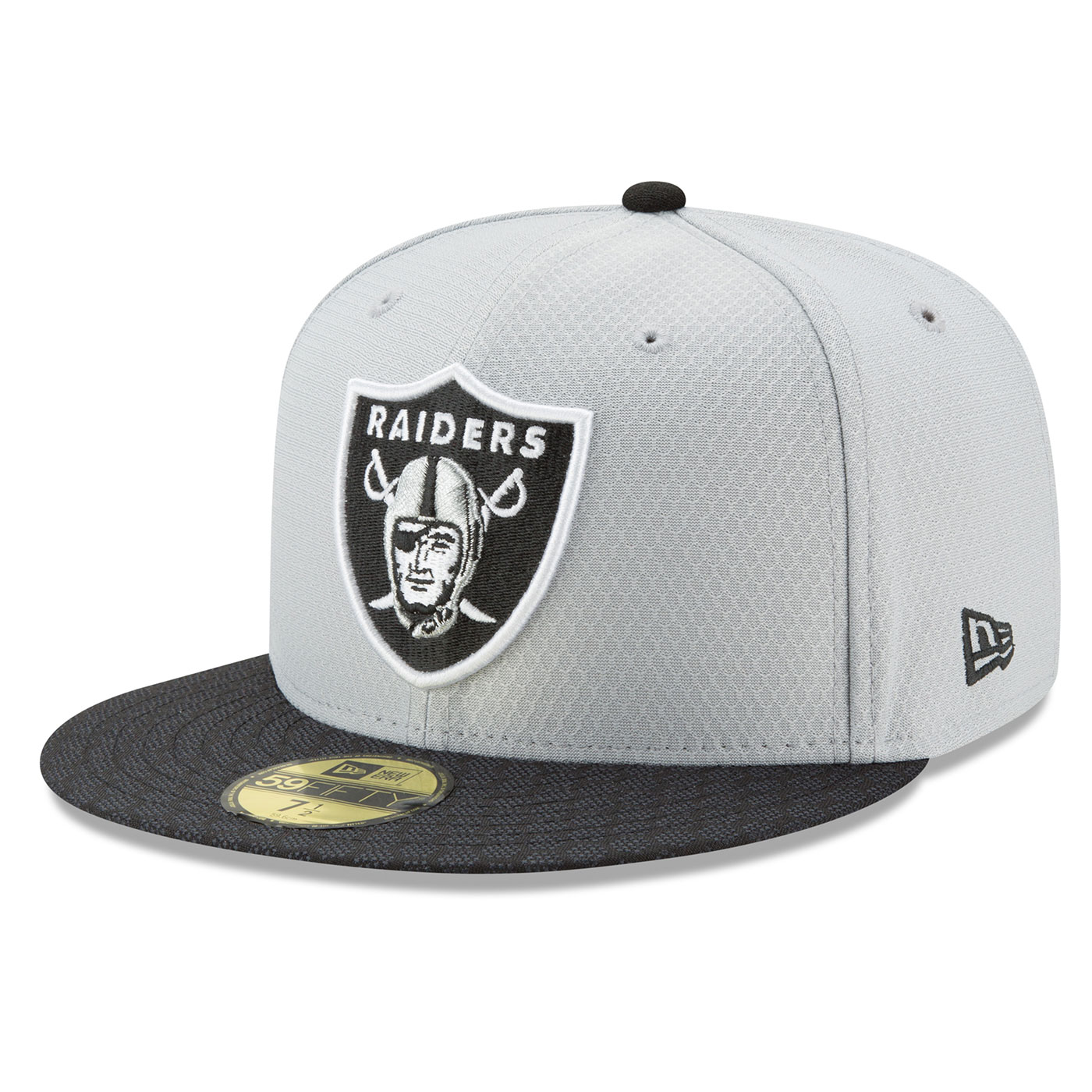 c5d934fa7 Raiders New Era 59Fifty Official 2017 Sideline Grey Fitted Cap