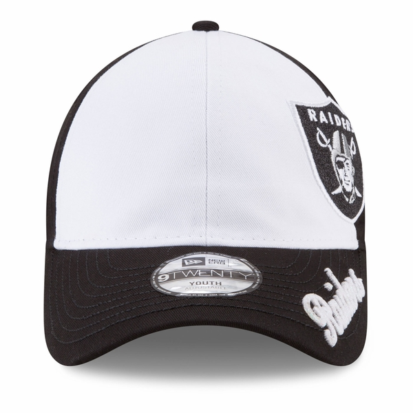 Raiders New Era 9Twenty Youth Black & White Glitter Sweep