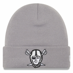 Raiders New Era Pirate Logo Cuff Grey Beanie 5bc600111