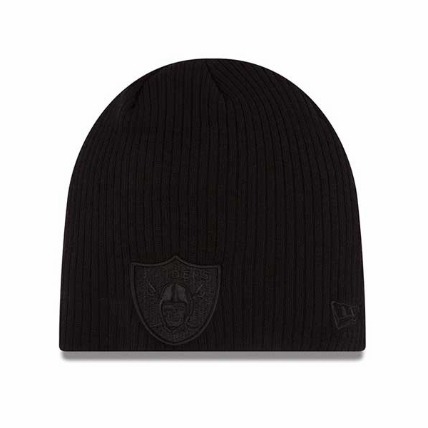 Raiders New Era Ribbed Knit Black Tonal Knit Hat