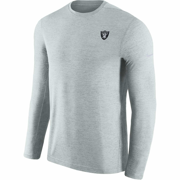 Raiders Nike Coaches Long Sleeve Silver Top