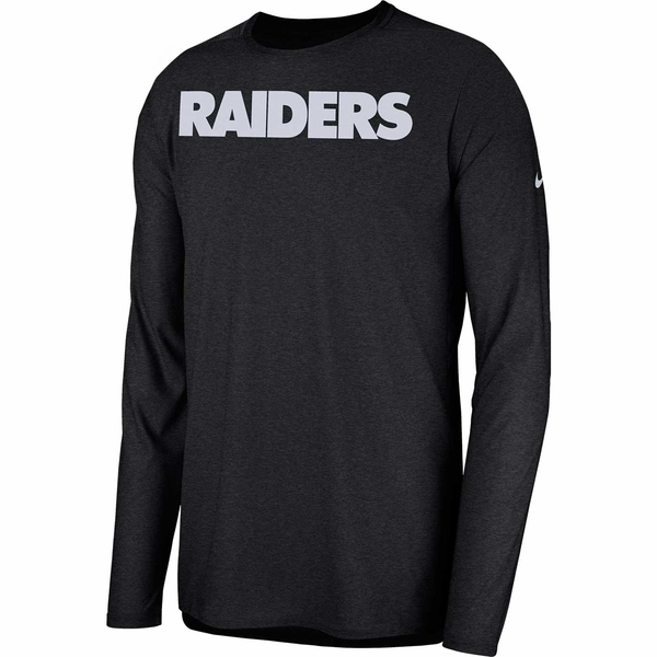 Raiders Nike Long Sleeve Players Black Top