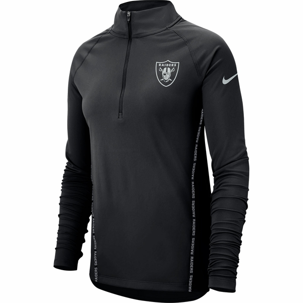 Raiders Nike Women's Long Sleeve Black Half Zip Core