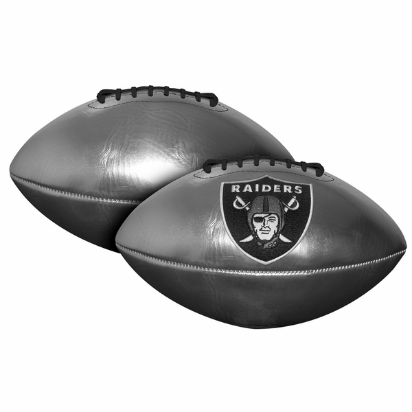 Raiders Silver Embroidered Logo Football