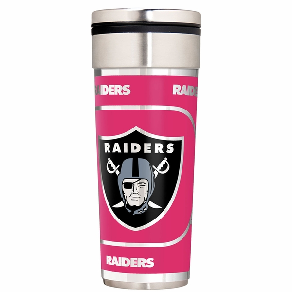 Raiders Slim 22oz Pink Travel Tumbler