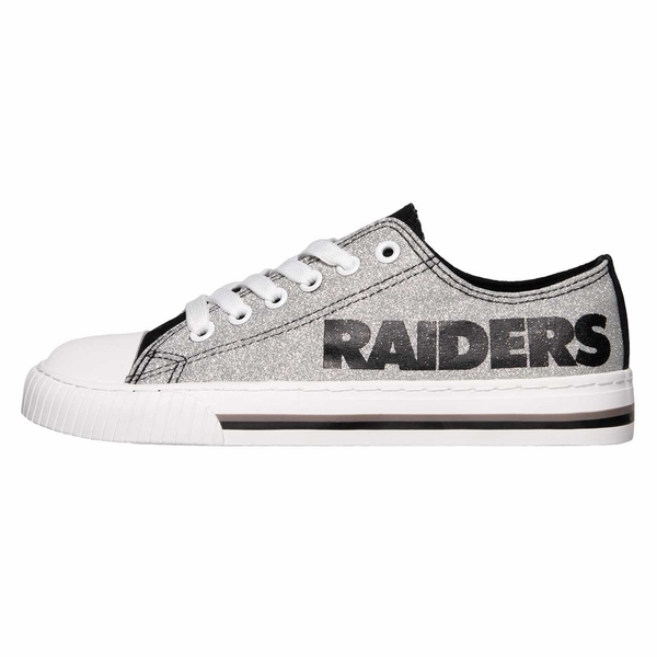 Raiders Women's Glitter Low Top Canvas Shoes